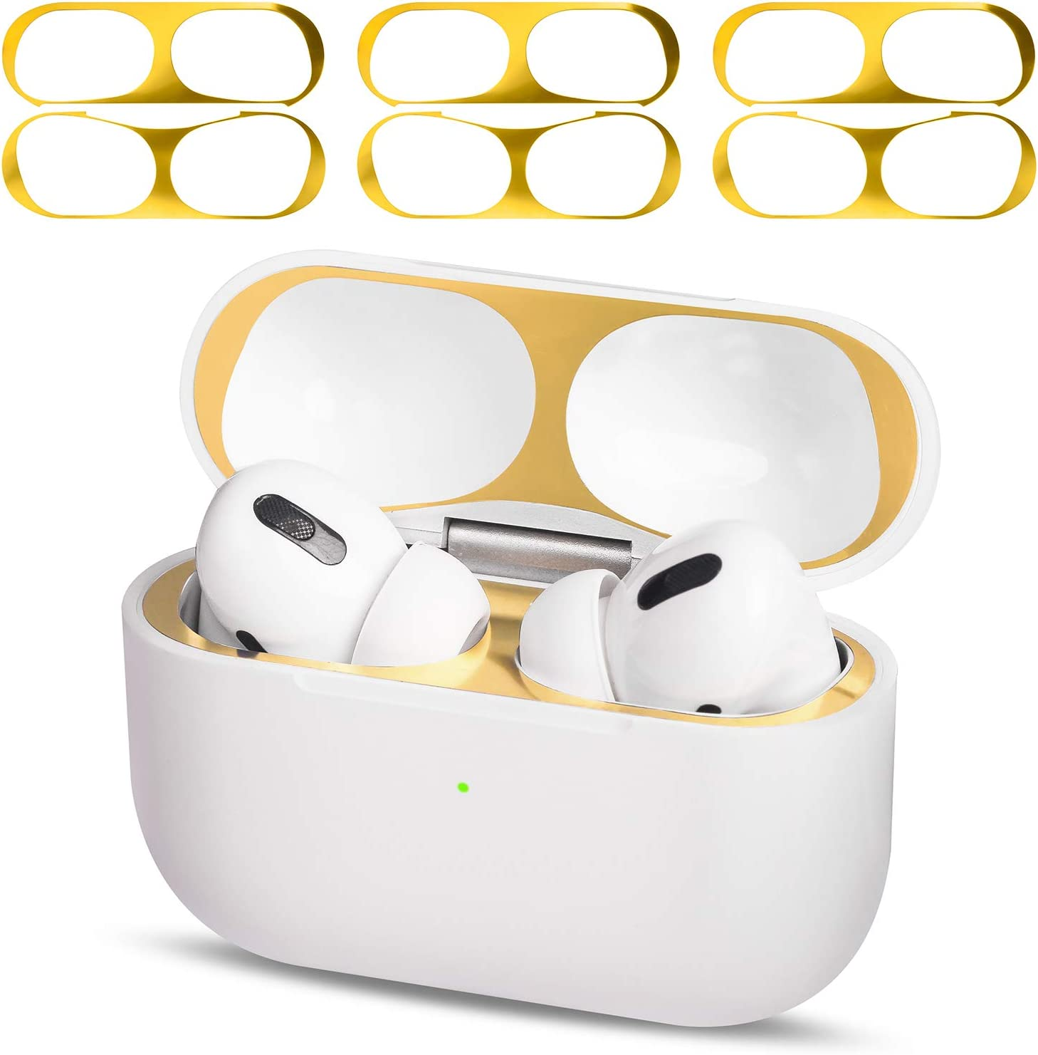 MioHHR AirPods Pro Dust Guard Clear, Metal Dust Cover for Apple Airpod Pro Protector Sticker, Airpods 3 Dust Proof Film Accessories for Wireless Charging Case,Ultra Slim Luxurious Looking -Gold