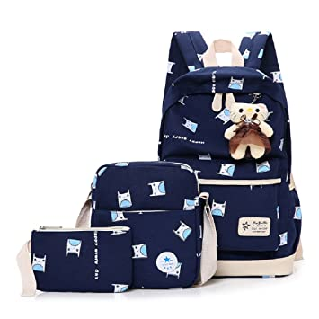 ZHRUI Bolsas de Escuela Set Girls School Mochila Ladies Canvas Mochila Teenager Cotton Fabric Stripe Mochila Escolar Mochilas para Universidad Ocio al Aire ...