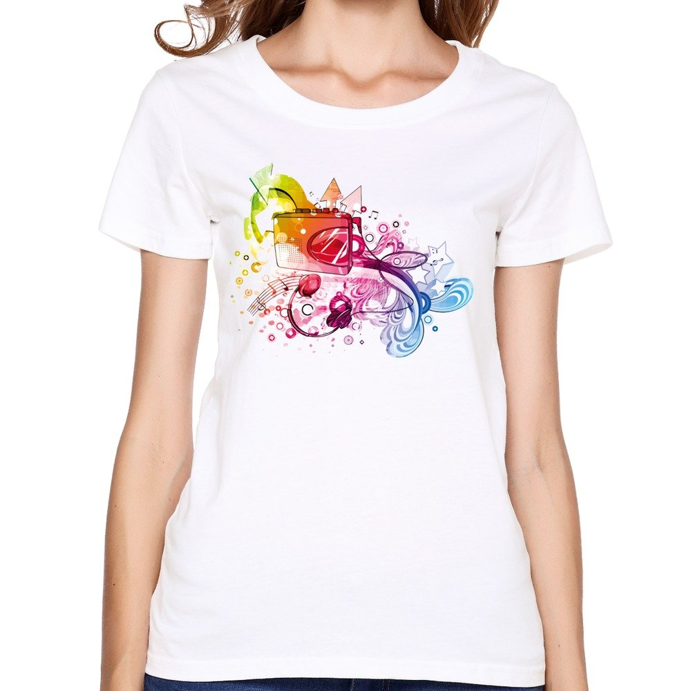 Woman Phonograph And Notes Custom Popular Clean White T-Shirts By LCss