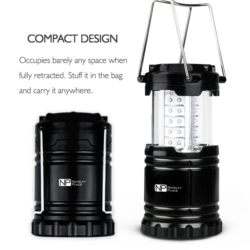 4 Pack Portable LED Camping Lantern, Novelty Place [Heavy Duty & Waterproof] Outdoor Hiking Gear Lights - Ultra Bright Compact Size - Battery Powered Emergency Flashlight by Novelty Place (Image #6)