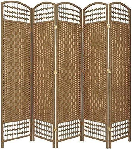 Oriental Furniture 5 1 2 ft. Tall Fiber Weave Room Divider – Natural – 5 Panel