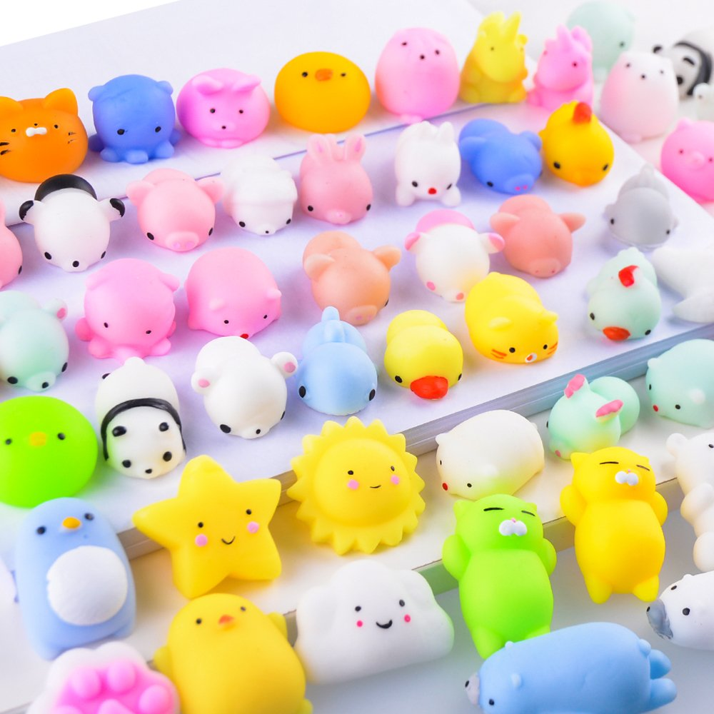 LUDILO 40Pcs Mochi Squishy Toys Mini Squishies Animal Squeeze Toys Kawaii Mochi Cat Squishys Unicorn Panda Seal Elephant Octopus Mochi Animals Stress Relief Toys Party Favors Kids Adults Random