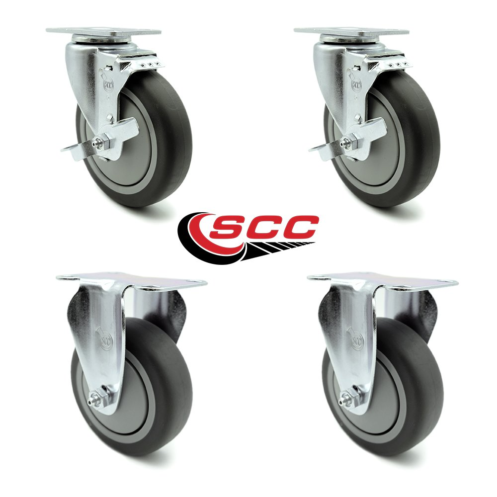 Service Caster - 5'' x 1.25'' Thermoplastic Rubber Wheels Caster Set of 4-2 Swivel Casters w/Brakes/2 Rigid