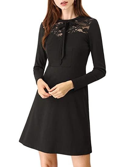 a503706d22424 Allegra K Women's Elegant Long Sleeve A-Line Party Cocktail Formal Lace  Dress