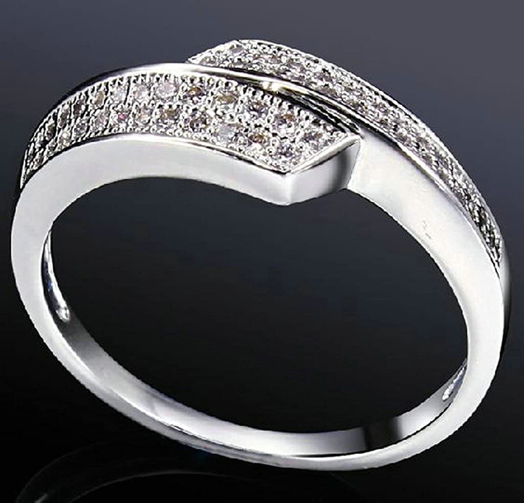 Daesar Gold Plated Rings Womens Silver Ring Cubic Zirconia Wedding Rings for Women 10