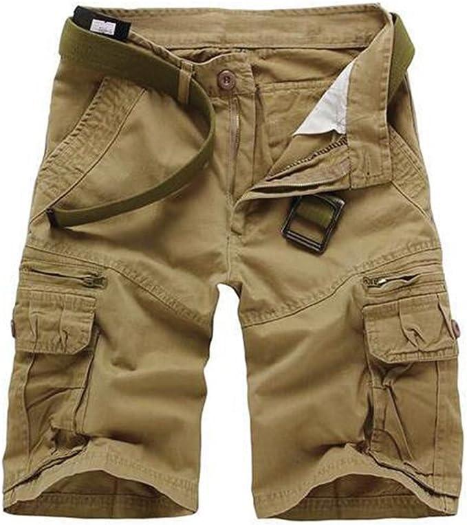 Pantalones de Cargo Hombres Multi-Bolsillo Bermuda Cortos Deporte ...