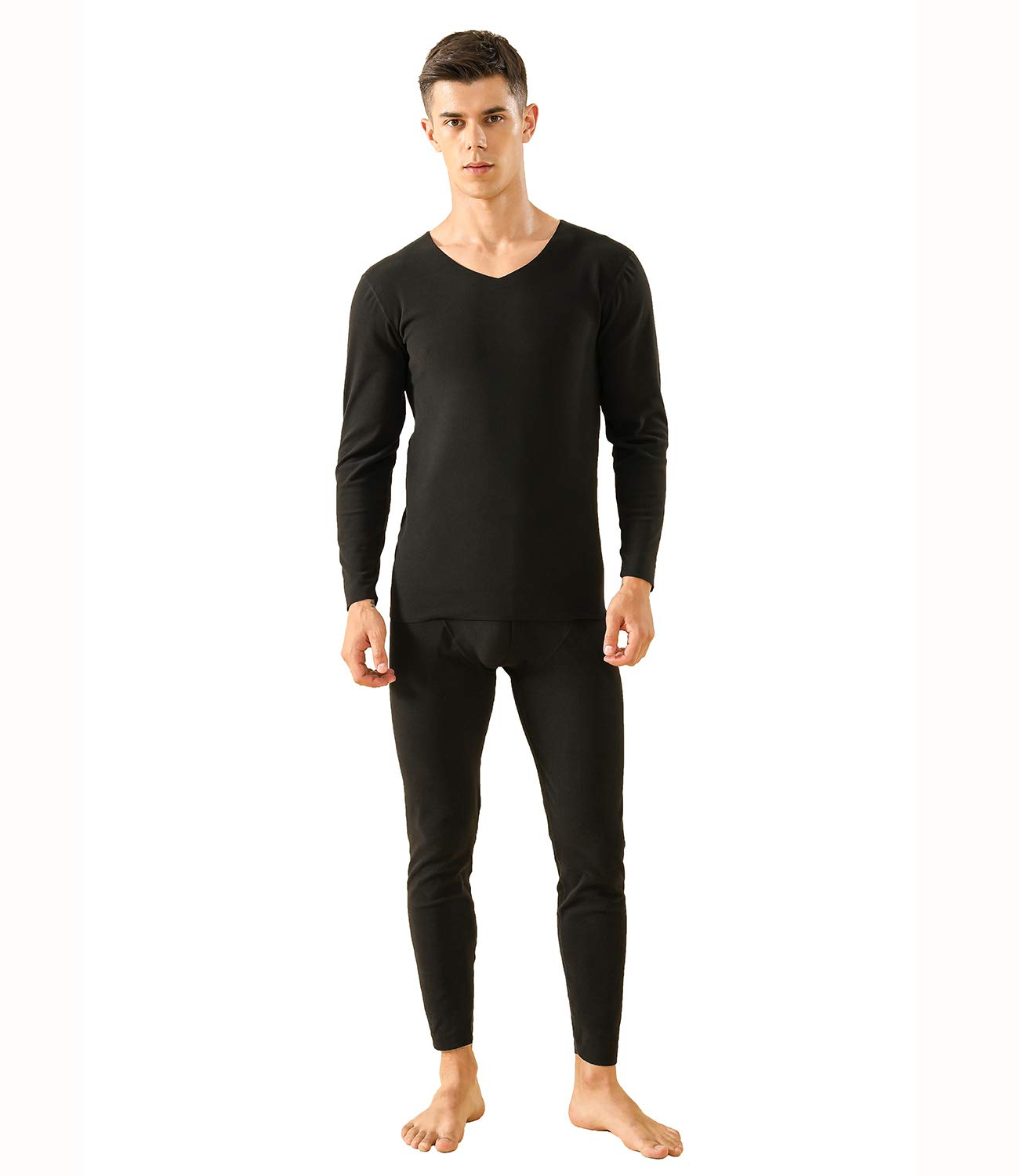 Men's Invisible Thermal Underwear Fleece Thermals Base Layer Long John Set (Black, XL) by WOFFMX