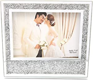 Abbie Home Photo Frame - Sparkle Rhinestones Crystal Diamond Picture Frame for Couples Bling Gift for Family Mother Girls Wedding Glitter Room Decor - 5x7