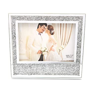Abbie Home Wedding Picture Frame 8x10 White - Bling Rhinestones Anniversary Photo Frame for Family and Friends-8x10