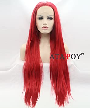 ATAYOU®Perruque Lace Frontal 22\' Rouge Longue