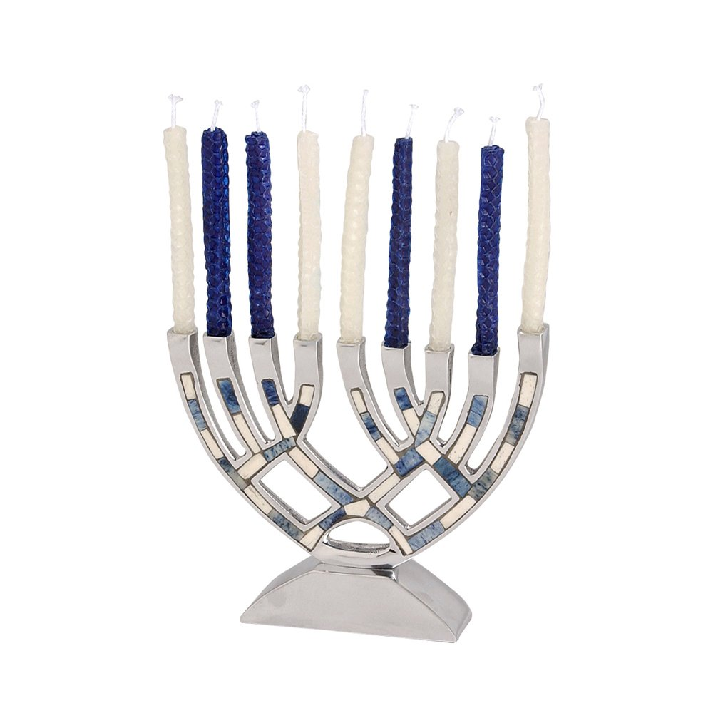 Israel Giftware Designs Contemporary Menorah with Neutral Colored Inlay-M-4810 1233-M-4810