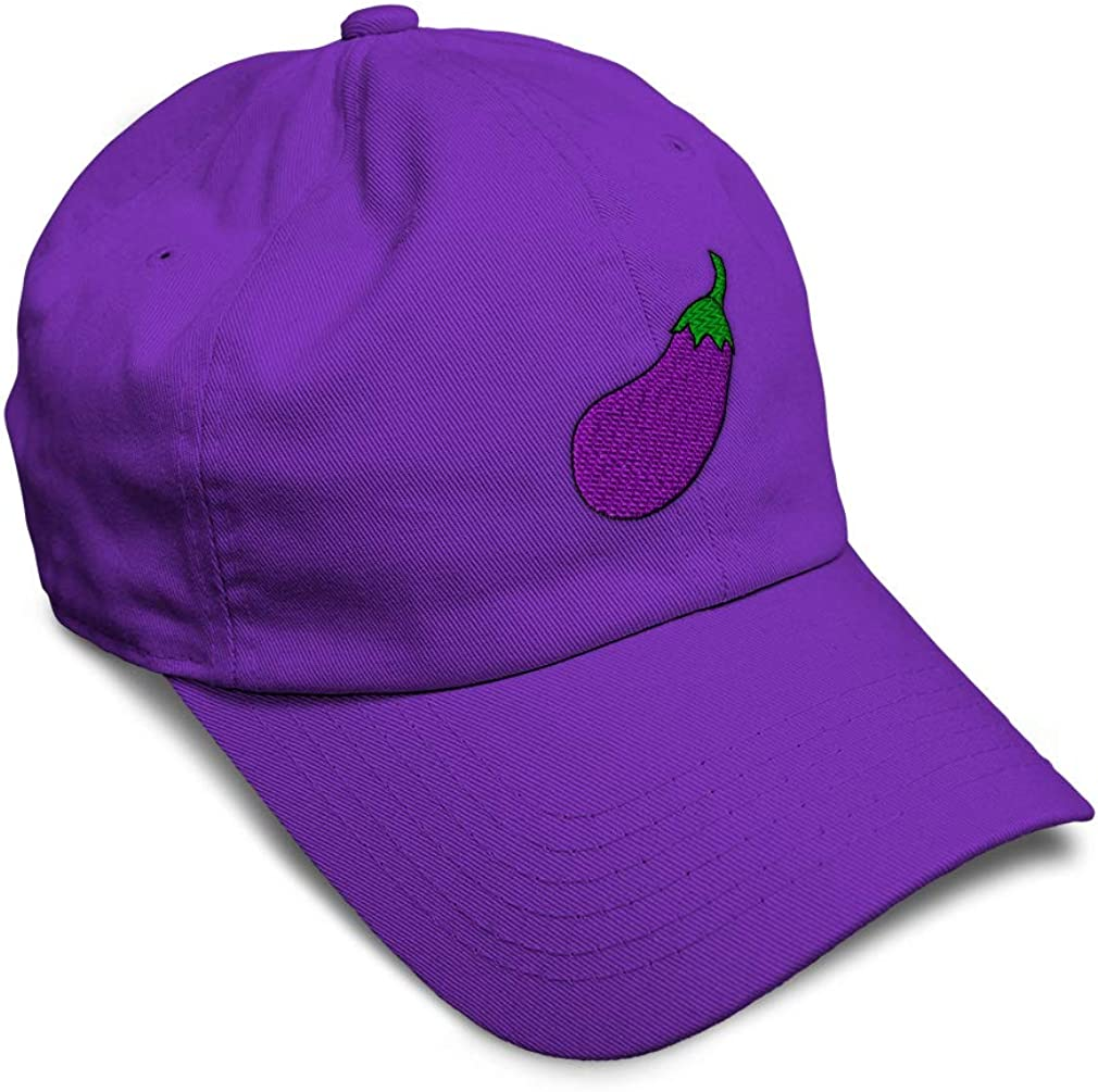 Custom Soft Baseball Cap Eggplant Vegetable Style B Embroidery Twill Cotton