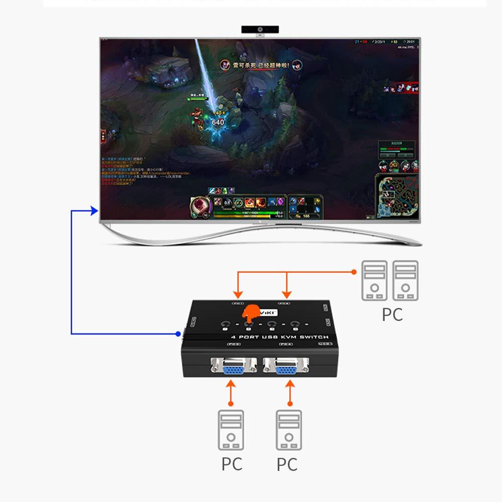Tastatur Maus MT-Viki 4 Port VGA KVM Switch mit 3 USB Hubs Drucker ...