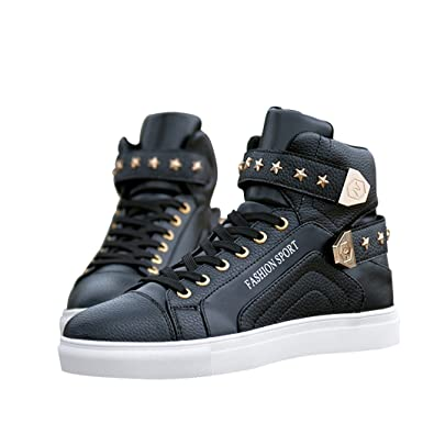 b3fded5bd0c Sun Florence Men s High Top Fashion Skateboard Shoes Street Hip Hop Leather  Sneakers Black 39