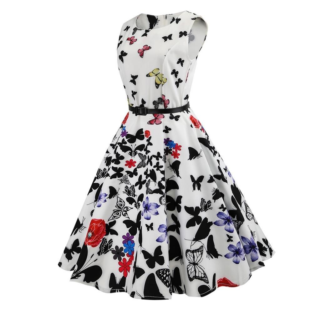 Igemy- Vestido para Mujer, Estilo Vintage, Estampado de Mariposas, sin Mangas, Casual, para Noche, Graduación, Swing: Amazon.es: Deportes y aire libre