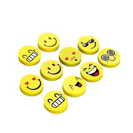 Smiley Gomme Mini Mignon Gomme Dessin Animé Kawaii Pour Enfants Cadeau Coréen Fournitures Scolaires Papelaria Lot De 10 2x2x0 6cm Comme Sur L Image