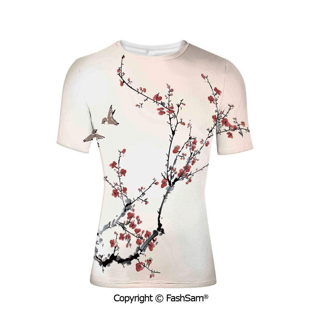 Fashion Printed T-Shirts Cherry Blossoms Petals on Abstract Sun Rays Springtime