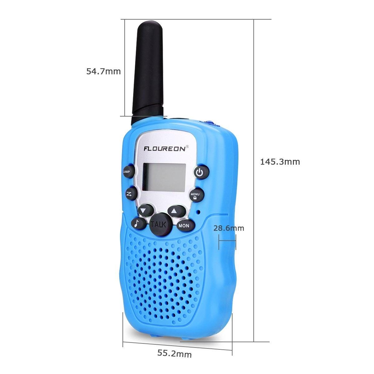 FLOUREON Walkie Talkies for Kids, 8 Channel 2-Way Radio Toys Long Distance Range 4PCS Blue Interphone