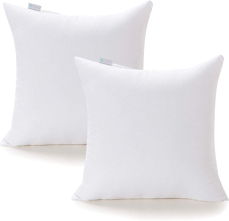 "Acanva 20 x 20 Premium Hypoallergenic Polyester Stuffer Square Form Sham Throw Pillow Inserts, 20""-2P, 2020 Newer Version"