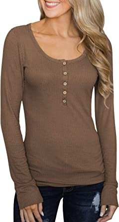 Women Lady T-Shirt Long Sleeve Solid Striped Slim Fit Buttons Autumn Winter Tops
