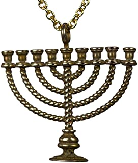 """product image for Menorah Peace Bronze Pendant Necklace on 20"""" Rolo Chain"""