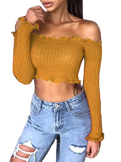 Famulily Women's Sexy Off Shoulder Frill Ribbed Knit Long Sleeve Crop Tops Tube(Pink,Small)