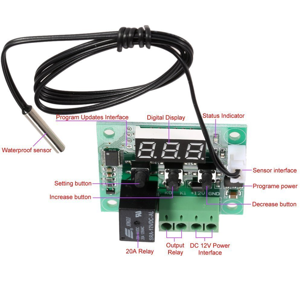 WINGONEER -50 a 110 ° C W1209 DC 12V Mini Digital termostato de control de temperatura controlador del interruptor del módulo del sensor: Amazon.es: ...