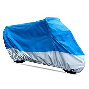 Rupse Bâche Moto Housse de Protection Étanche Antipoussière Anti-UV avec Trou de Antivol Bleu et Argent (XXL(245*105*125cm))