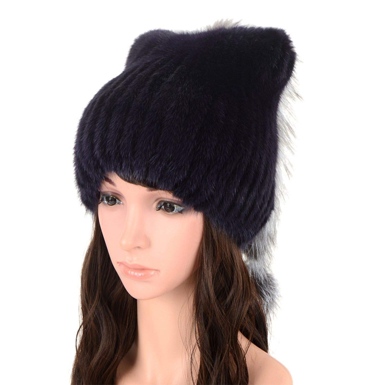 Womens Winter Newsboy Mink Fur Hat Knitted Mink Fur Hats Fox Tail,Purple,One Size