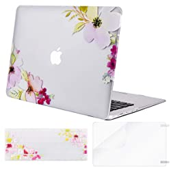 MOSISO MacBook Air 13 Case (A1369 & A1466, Older Version 2010-2017 Release), Plastic Pattern Hard Case&Keyboard Cover&Screen Protector Only Compatible with MacBook Air 13 Inch, Clear Base Peachblossom