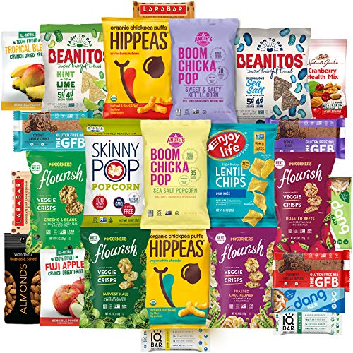 Healthy Vegan Snacks Care Package (20 Count) - Mixed Premium Variety Pack - Includes Assortment of Chickpea Puffs, Popcorn, Chips, Trail Mix, Fruit, Health Bars - Multiple Flavors Fun Snack Gift Box