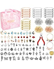 304Pcs Bracelets jewelry Making Kit-Expandable Bangles, Charms, Jump Rings and Pliers for Jewelry Making Bangle Bracelets (with Gift Box and Tools),Bracelets for DIY Crafts for Beginner-Children's day and Christmas gift