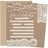 Burlap Invitations for Weddings, Bridal Showers, Baby Showers, Soirees, Birthday Parties or Any Occasion. Rustic Design with Lace and String Lights. Set of 25 Fill In Style Cards with Kraft Envelopes
