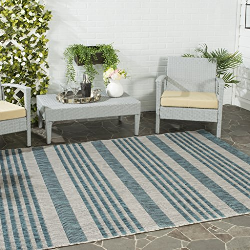 Safavieh Courtyard Collection CY8062-37212 Grey and Blue Indoor/ Outdoor Area Rug (5'3