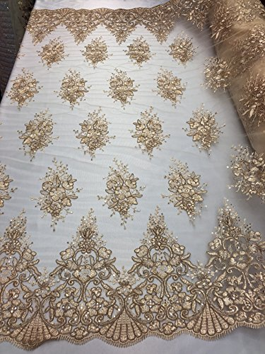 Floral Pattern Embroidery Lace Fabric with Tiny Sequins - Champagne - Design Embroided Lace Gorgeous Mesh Fabrics Sold by The Yard (Gold Fabric Embroidery)