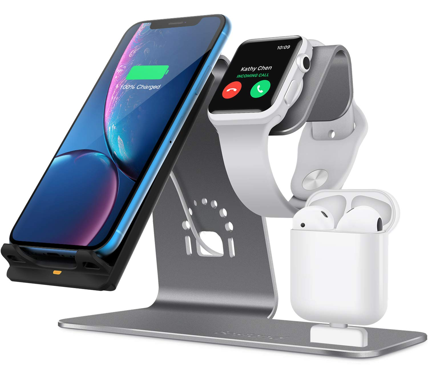 Bestand 3 in 1 Aluminum Stand for Apple iWatch, Charging Station for Airpods, Qi Fast Wireless Charger Dock for Apple iWatch/iPhone X/8 Plus/8, Samsung S8, Grey by Bestand