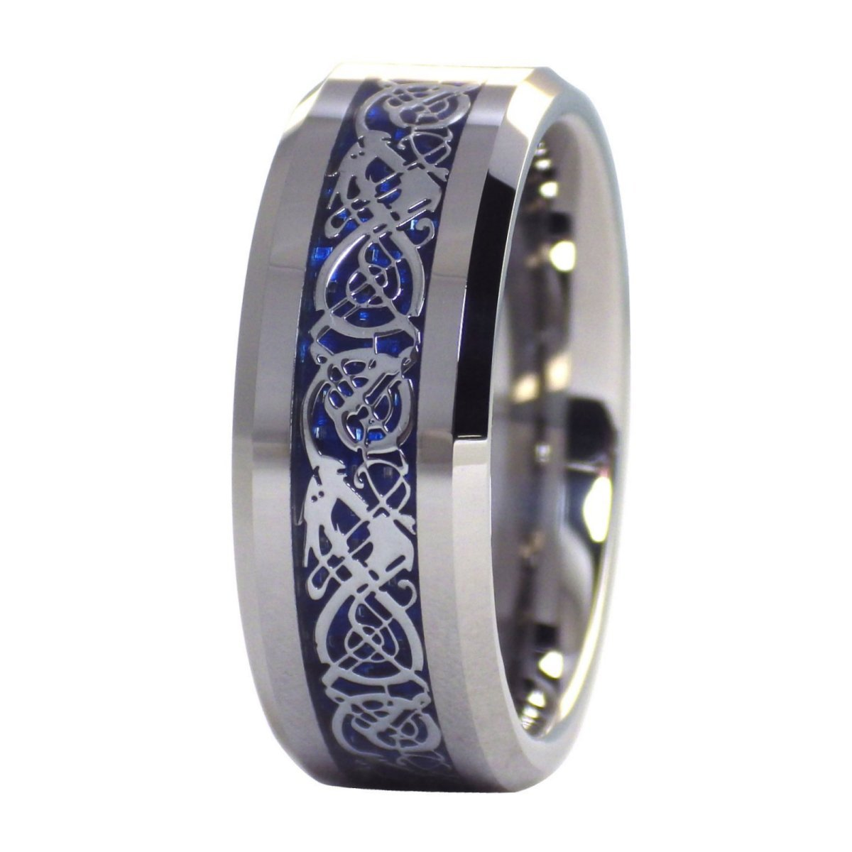 Fantasy Forge Jewelry Celtic Ice Dragon Ring Tungsten Wedding Band Blue Carbon Fiber Size 13