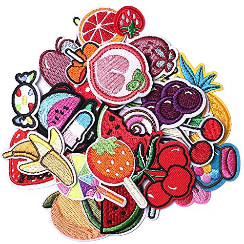 AXEN Embroidered Fruit Iron on Patches DIY Accessories, Assorted Fruit Decorative Patches, Cute Applique Patches for Jackets, Hats, Backpacks, Jeans, 40 Pieces Package