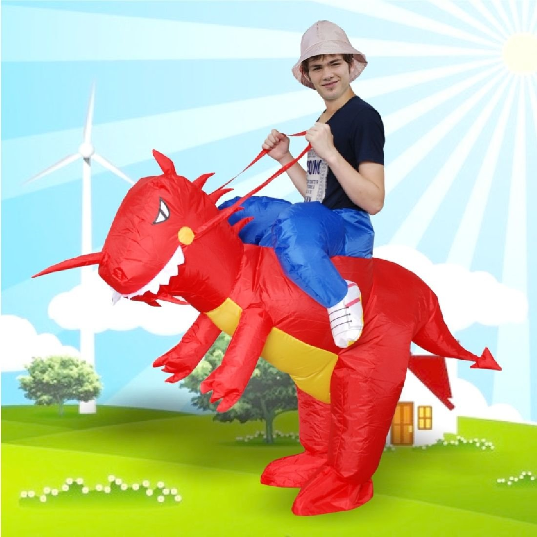 Inflatable Red Dinosaur Costume Halloween Cosplay Animal Dino Rider