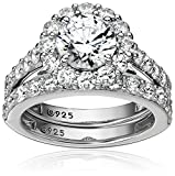 Platinum Plated Sterling Silver Flower Halo Ring set with Swarovski Zirconia (2.9 cttw), Size 5
