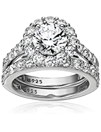 Platinum-Plated Sterling Silver Flower Halo Ring set with Swarovski Zirconia (2.9 cttw), Size 5