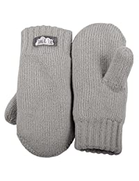 Toddler kids warm fleece lined knit mittens with thumb for fall winter (Mitten M: 9-36m, Light grey)