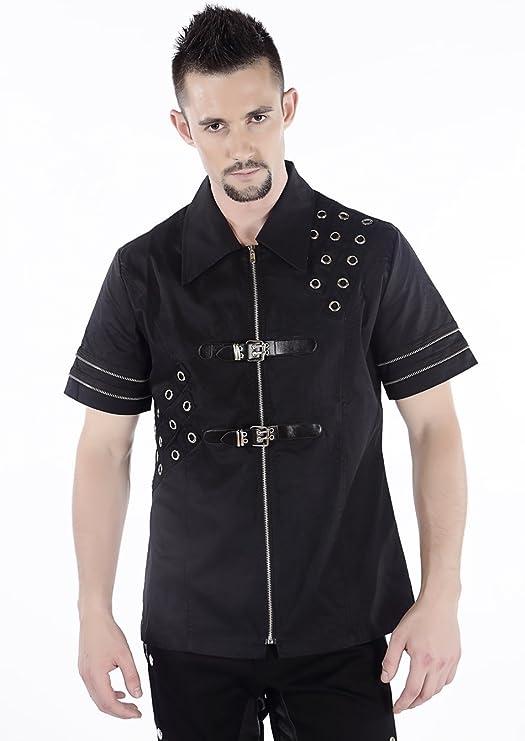 Camisa Gótica Steampunk para Hombre Gris – Pentagrama Negro XX-Large: Amazon.es: Ropa y accesorios