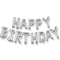 Atraerte Globos | Globos de Feliz cumpleaños | Bandera Dorada de Feliz cumpleaños | Globos de Papel de Aluminio | Decoración de Fiesta de cumpleaños,16inch,(Plata)