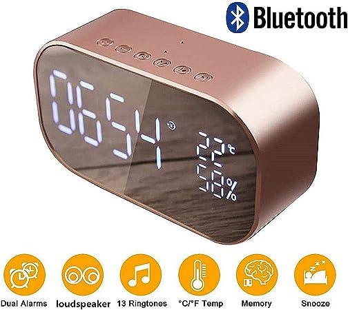 Queta Réveil numérique Miroir avec Haut Parleur Bluetooth, réveil Lumineux avec écran à LED et réveil pour Bureaux à Domicile