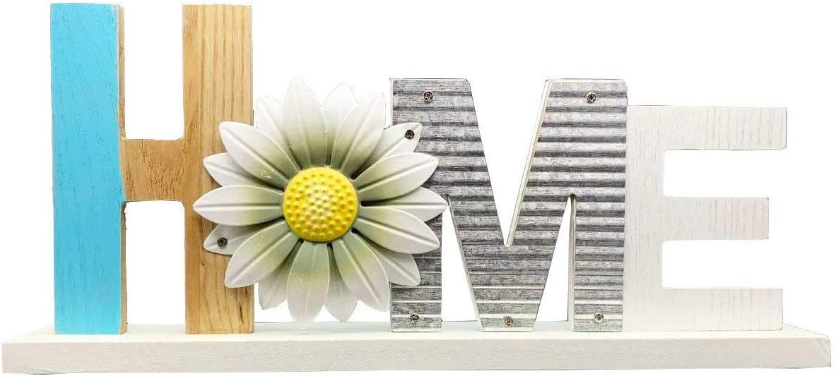 YUMBOR Wooden Daisy Cutout Home Sign Décor Kitchen Tabletop Fireplace Mantel Centerpiece Decoration Free Standing Rustic Wood Cutout Letters Accents Table Top Shelf Decor