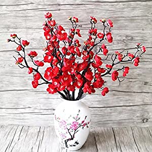 XHSP 5pcs Artificial Flowers Rural Wintersweet Plum Flowers Plum Blossom Fake Flowers for Home Wedding Party Decor 84