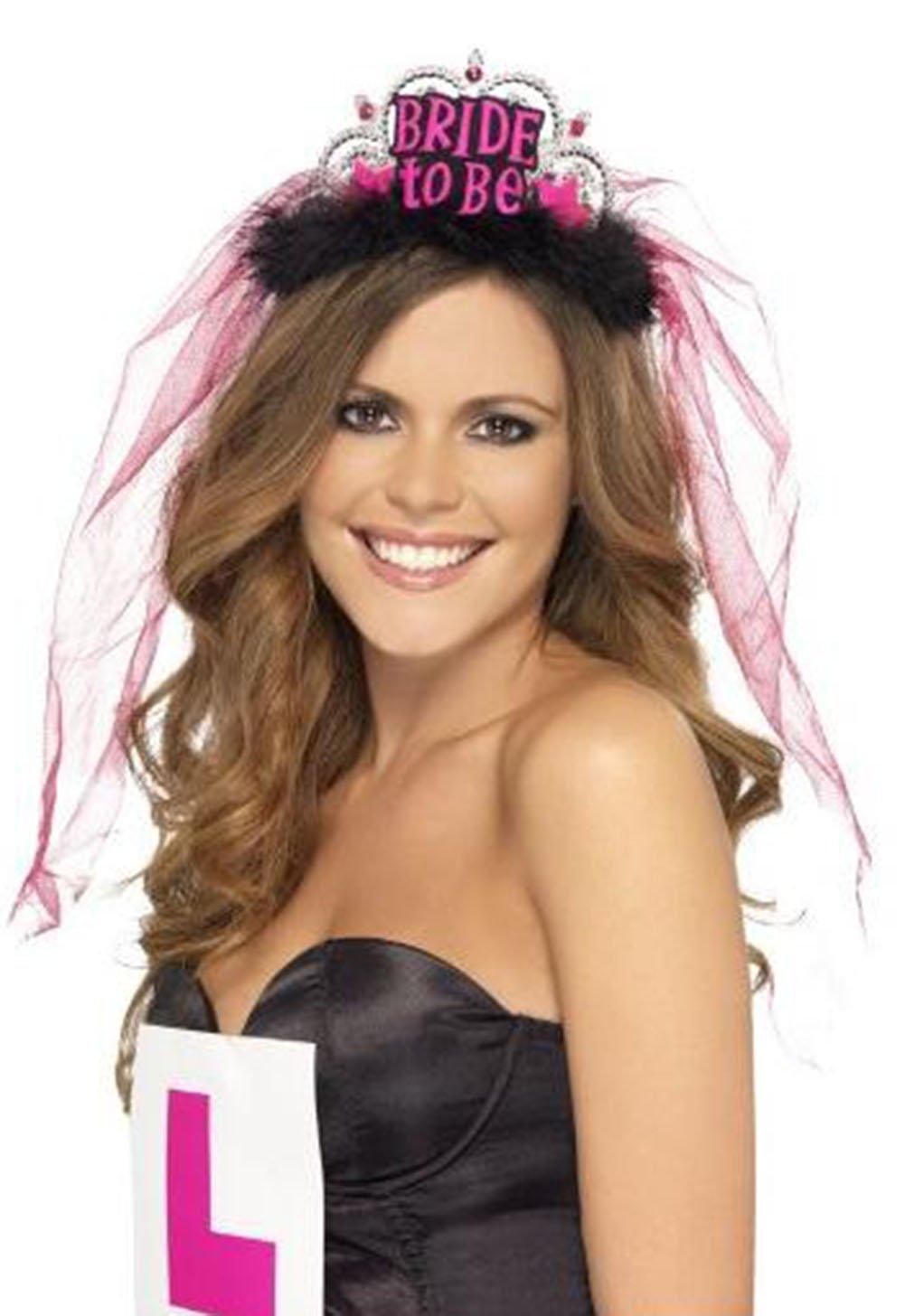 Doitsa Bride To Be Tiara with White Veil Bride Crown Hen Night Party Bridal Shower Decor Black