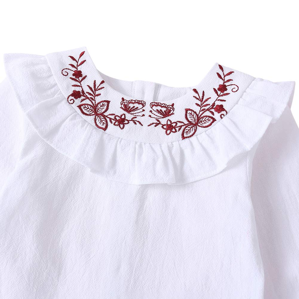 Baby Girls Floral Embroidery Doll Collar Long Sleeve Pullover Shirts Tops Blouse