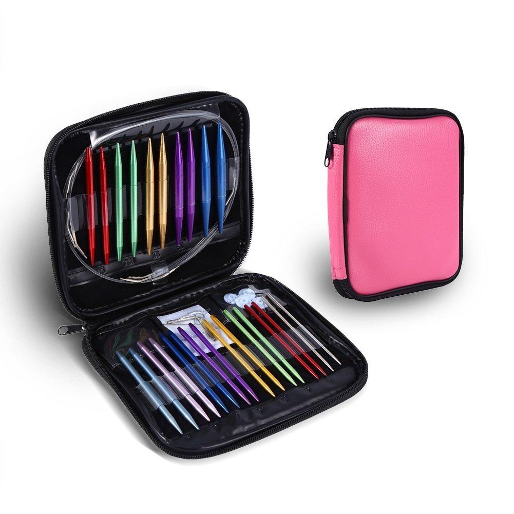 13 Tallas Kit de agujas de tricotar circular 2.75mm-10mm agujas intercambiables de punto con caja de almacenamiento con cremallera